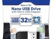 "Pendrive, 32GB, USB 2.0+micro USB adapter, táblagéphez, VERBATIM ""Nano"" fotó"