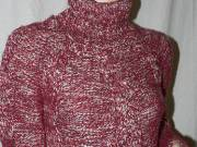 Mango MNG bordó cirmos garbós kötött meleg pulóver M