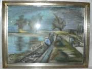 Csengery István Horgászok 47x63 pasztell papír