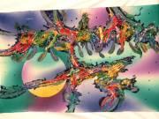 Indonéz kézzel festett batik kép hand made 150×92cm