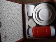 retro kemping  utazó étkészlet evőeszközkészlet ,tányér és termosz