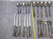 antik orosz ezüstözött evőszköz készlet, konyhai étkészlet, szép állapotban