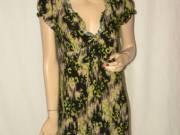 DEPT fekete zöld barna mintás nyári ruha S