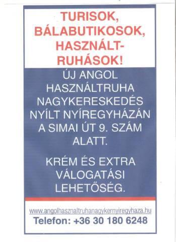 Új használtruha nagykereskedés nyílt Nyíregyházán a Simai út 9. sz. alatt! 25b80380d3