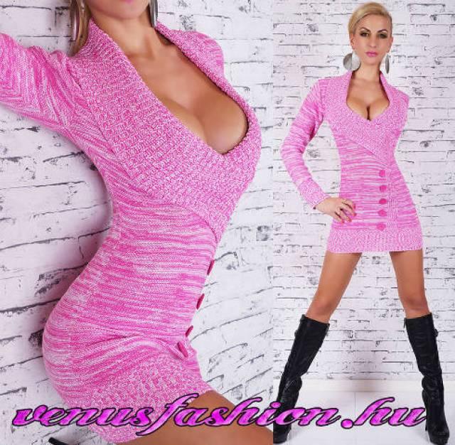 Divatos kötött pink női pulóver gomb díszítéssel - Debrecen ... 1d909c990b