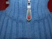 Női meleg kötött garbós pulóver (S/ M)- kék/ fehér
