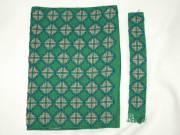 Zöld hímzett kézimunka könyvborító és könyvjelző