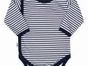 Baba body teljes hosszában patentos - New Baby Classic II kék csíkokkal 68 (4-6 h) - NEW BABY
