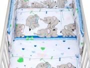 3-részes ágyneműhuzat New Baby 100/135 cm kék elefántos - NEW BABY
