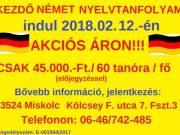 KEZDŐ NÉMET NYELVTANFOLYAM INDUL 2018.02.12.-én CSAK 45.000.-Ft./fő