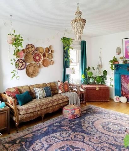 Bohém nappali, bútor, dekoráció