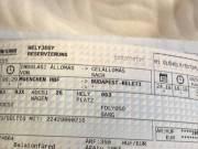 Münchenből Budapestre érvényes, 1. osztályra szóló menetjegy+helyjegy eladó